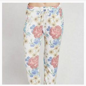 Wildfox Floral Print Jogger Pants
